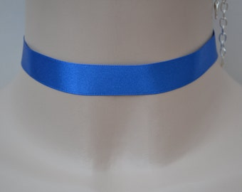 Royal BLUE 16mm SATIN Ribbon Choker Classic Plain Necklace - fg... or choose another colour, custom made :)