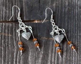 Swarovski Crystal Earrings, Chandelier Earrings, Summer Jewelry, Heart Earrings, Dangle Earrings, Summer Earrings, OOAK Earrings, For Her