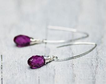 Pink Crystal Drop Earrings, Dangle Earrings, Swarovski Jewelry, Briolette Earrings, Long Earring, Birthday Gift for Her, Wire Wrapped