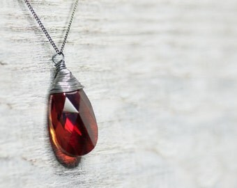 Crystal Autumn Necklace, Deep Red Magma, Drop Necklace, Swarovski Necklace, Pendant Necklace, Birthday Gift for Her, Fall Crystal Jewelry