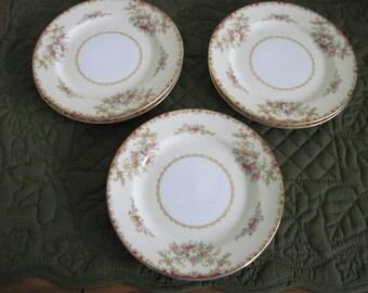 6 Antique Vintage Noritake Porcelain China Bread & Butter Plates Oradell Patten Circa 1930's