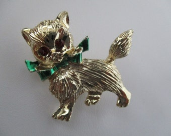 Gold Christmas CAT With Green Bow Brooch