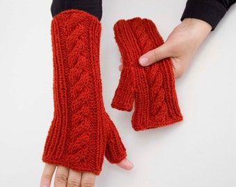 Big Sale -  Knitted fingerless cable  gloves in pink -  COLOR OPTION AVAILABLE