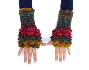 Big Sale -  Knitted fingerless gloves ,colorful,crocodil stitched fingerless