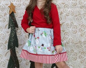 Sparkle Snowmen Skirt  ( 2T, 3T, 4T, 5, 6, 7,8, 10)