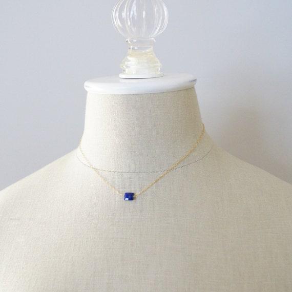 Small lapis lazuli necklace - petite pendant necklace