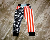 American Flag Toddler infant baby Harem Pants, Merica' photography prop, New Years, 4th of July unisex leggings, girls boys