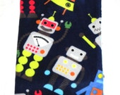 Baby Blanket - Colorful Robots - navy blue, red, yellow ...  - Pale blue Minky -