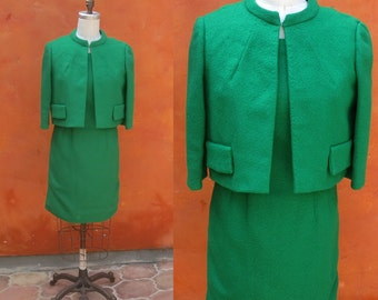 Vintage 1950s 1960s Green Wiggle Dress with Matching Coat Jacket Blazer. Women's 2 Piece Suit. Jackie O