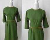 Vintage Dress, Vintage Green Dress, 1950s Green Dress, Green Wool Dress, Retro 50s Dress, Green 50s Dress, Rockabilly Green Dress, Pin Up