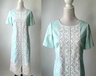 Vintage Dress, The Lilly, Pulitzer Maxi Dress, 1960s Maxi Dress, Vintage 60s Dress, Light Blue Dress, Butterfly Dress, Lace 1960s Dress