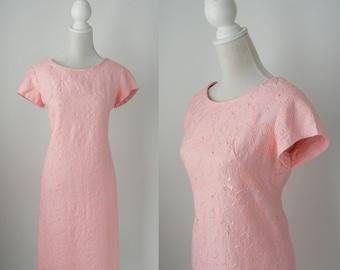 1960s Dress, Vintage Dress, Vintage Pink Dress, 1960 Pink Dress, Pink Cotton Dress, Vintage Pink Embroider Dress, Retro 60s Dress, Mod Pink