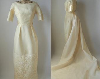 1950 Wedding Dress, 1950 Wedding Gown, Vintage Wedding Dress, Vintage Wedding Gown, Lace Wedding Dress, Wedding Dress with Train, Retro Gown