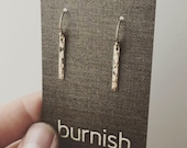Tiny Gold Bar Earrings - Hammered Gold Filled Earrings - Handmade Jewelry by Burnish - Minimalist Jewelry - Dangle Earrings