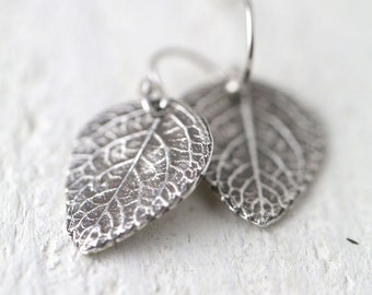 Silver Leaf Earrings, Gift for Women, Sterling Silver Earrings, Earrings Handmade, Wife Gift for Her, Botanical Nature Jewelry