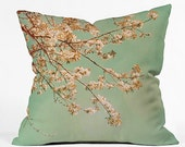 Throw Pillow: Cherry Blossoms. Nature Photography. Pink Turquoise Teal Mint. Decorative Throw Pillow. Living Room. Home Décor. Cushion Cover