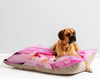 Warm Pet Bed ~ Pink Peony Flower, washable pet furniture, puppy lovers, dog lovers gift, cozy cat cushion, pet lover gift, cat people