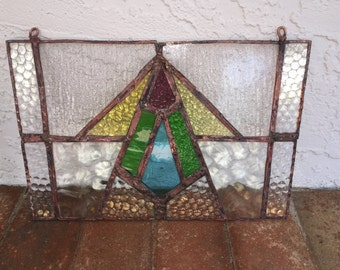 Vintage Art Deco Copper Patina Stained/ Leaded Glass Window