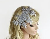 Metallic Gray Bridal Headband, Beaded Headpiece Fascinator, Romantic Wedding Accessory, Venetian Lace Applique