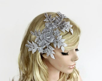 Metallic Gray Bridal Headband, Beaded Headpiece Fascinator, Romantic Wedding Accessory, Venetian Lace Applique, Bridal Flower Hairpiece
