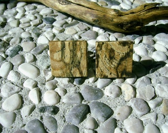 WOODEN CUFFLINKS Square Spalted OAK Handcrafted Wooden Cufflinks