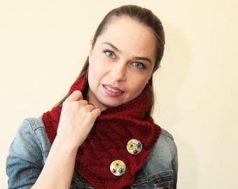 MARSALA Hand KNIT SCARF by Solandia, Neck Warmer floral buttons Knitting Accessories Women fashion, knitted fashion accessories
