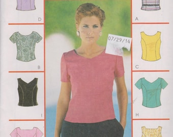"""1990's Women's Tops Short Sleeve or Sleeveless Button Down Back Sewing Pattern Sizes 6-10 Bust 30.5-32.5"""" McCall's 9413"""