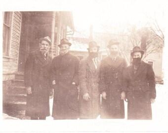 Vintage Photo Gentlemen with Fake Beards Old Photograph Paper Ephemera Snapshot Photo Collectibles