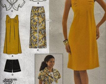 "Women's Summer Dress Tunic Top Jacket Shorts Pants  - Sun Dress   - Size 6-14 Bust 30.5-36"" - UNCUT- Sewing Pattern Simplicity 2659"
