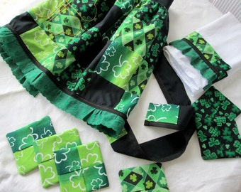 Gift Set Shamrock Kitchen Dish Towel Coasters Hostess Apron Patchwork Hand Embroidered