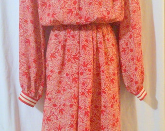 Vintage Schrader Sport Red Print Secretary Career Dress Size 16W