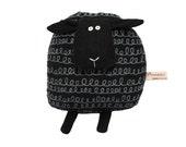 Black Sheep Toy, Black Sheep Pillow, Birthday Gift for Children, Soft Toy Animal, Poosac, Modern Nursery Decor, Monochrome