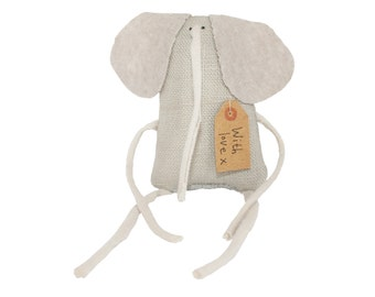 Tiny Elephant Art Doll, Miniature Elephant Stuffed Toy Animal, Gift for Animal Lover, Poosac