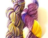 Hand painted sock yarn hand dyed: Crocus