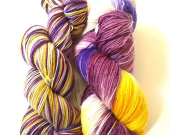 Hand painted sock yarn hand dyed: Crocus