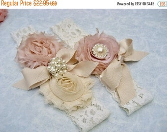 SUMMER SALE Bridal Garter Heirloom Rose Wedding Garter Set with Toss Garter Heirloom Rose and Tea Stained Ivory with Rhinestones and Pearls