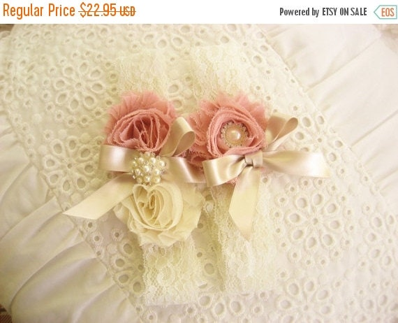 FALL SALE Garter Heirloom Rose Wedding Garter Set with Toss Garter Heirloom Rose and Tea Stained Ivory with Rhinestones and Pearls