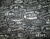 Inspirational Words Chalk Board Black White Cotton Fabric Fat Quarter Or Custom Listing