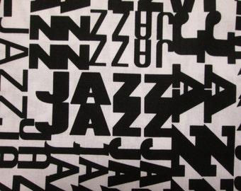 Mod Jazz Words Black White Cotton Fabric Fat Quarter or Custom  Listing