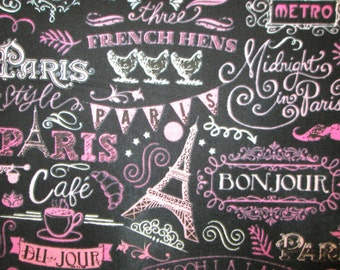 Paris Chalk Words Landmarks Eiffel Tower Sewing Items Pink Black Cotton Fabric Fat Quarter Or Custom Listing