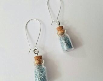 Blue moon dust earrings, glitter handmade drop earrings