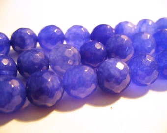 Jade Beads Blue Faceted Round 10MM