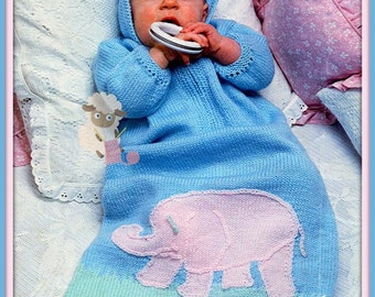 PDF Knitting Pattern for a Babies Elephant Sleeping Bag/Cocoon - Instant Download