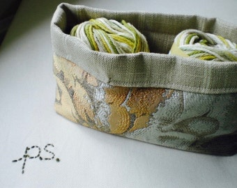 Muted Coral and Cream Fabric Basket/ Bin