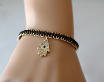 Evil Eye - Adjustable Bracelet,  Crystallized Hamsa Bracelet, Black and gold bracelet, Gift for her, Good luck charm, Holiday Gift