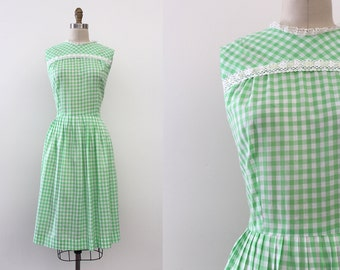 vintage 1960s dress // 60s green gingham day dress