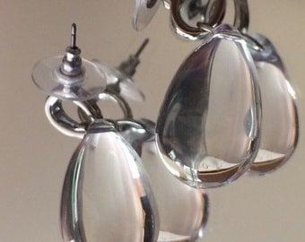 Let It Rain Let It Rain Huge Clear Raindrops Pierced Dangle Earrings