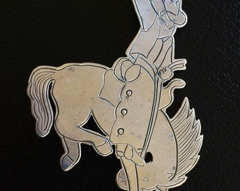 Let 'er Buck Sterling Silver Bronco Rider Rodeo Brooch