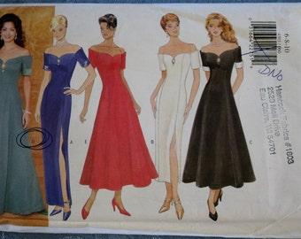 Sewing Pattern Evening Dress Long Formal Off Shoulder Ballerina Ankle Length Pencil Skirt Slit Short Sleeves Butterick 4301 Uncut Unused