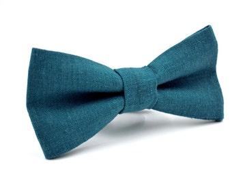 Bowtie in Teal Linen, Mens Bow Tie, Groomsmen Bow Tie, Wedding Bow Tie, Adjustable Bow Tie, Pre Tied Bow Tie, by AmandaJoHandmade on Etsy